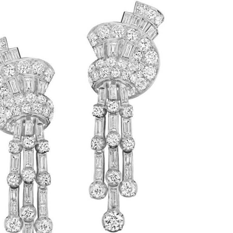 Women's 1940s Diamond Fan and Tassel Earrings by Faraone For Sale