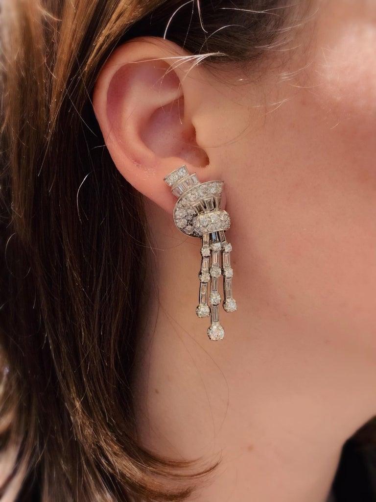 1940s Diamond Fan and Tassel Earrings by Faraone For Sale 1