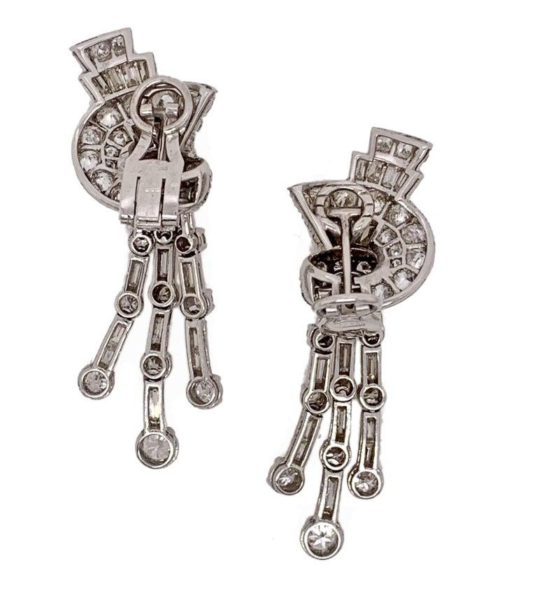 1940s Diamond Fan and Tassel Earrings by Faraone For Sale 2