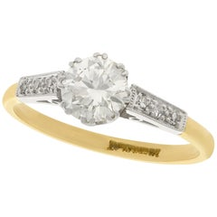 1940s Diamond Gold Solitaire Engagement Ring