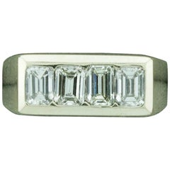 1940s Diamond Ring 1.20 Carat of Emerald Cuts