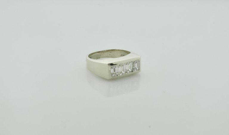 1940's Diamond Ring 1.20 Carats of Emerald Cuts This is a Delightful Non-Gender Conforming Ring  Four Emerald Cut Diamonds Weighing 1.20 Carats Approximately [GHI- VVS-VS1] [bright with no imperfections visible to the naked eye] Currently Size 6.5