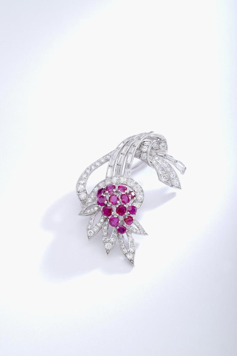 Art Deco 1940S Diamond Ruby Platinum Flower Brooch For Sale
