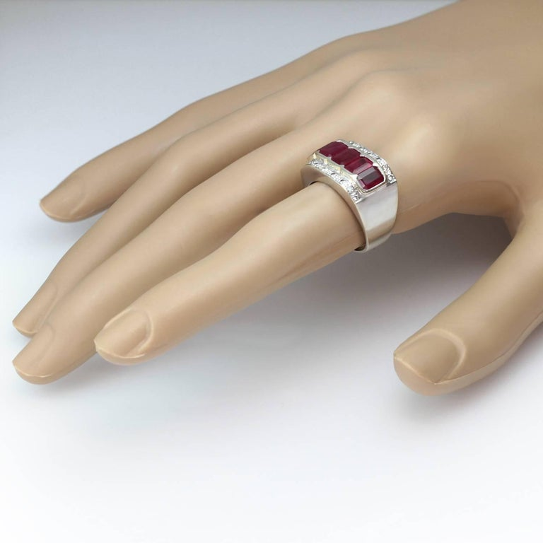 Women's 1940s Diamond Ruby White and Yellow Gold Ring For Sale