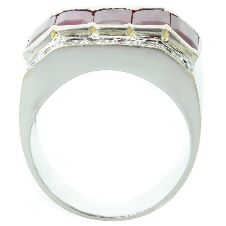 1940s Diamond Ruby White and Yellow Gold Ring For Sale 4