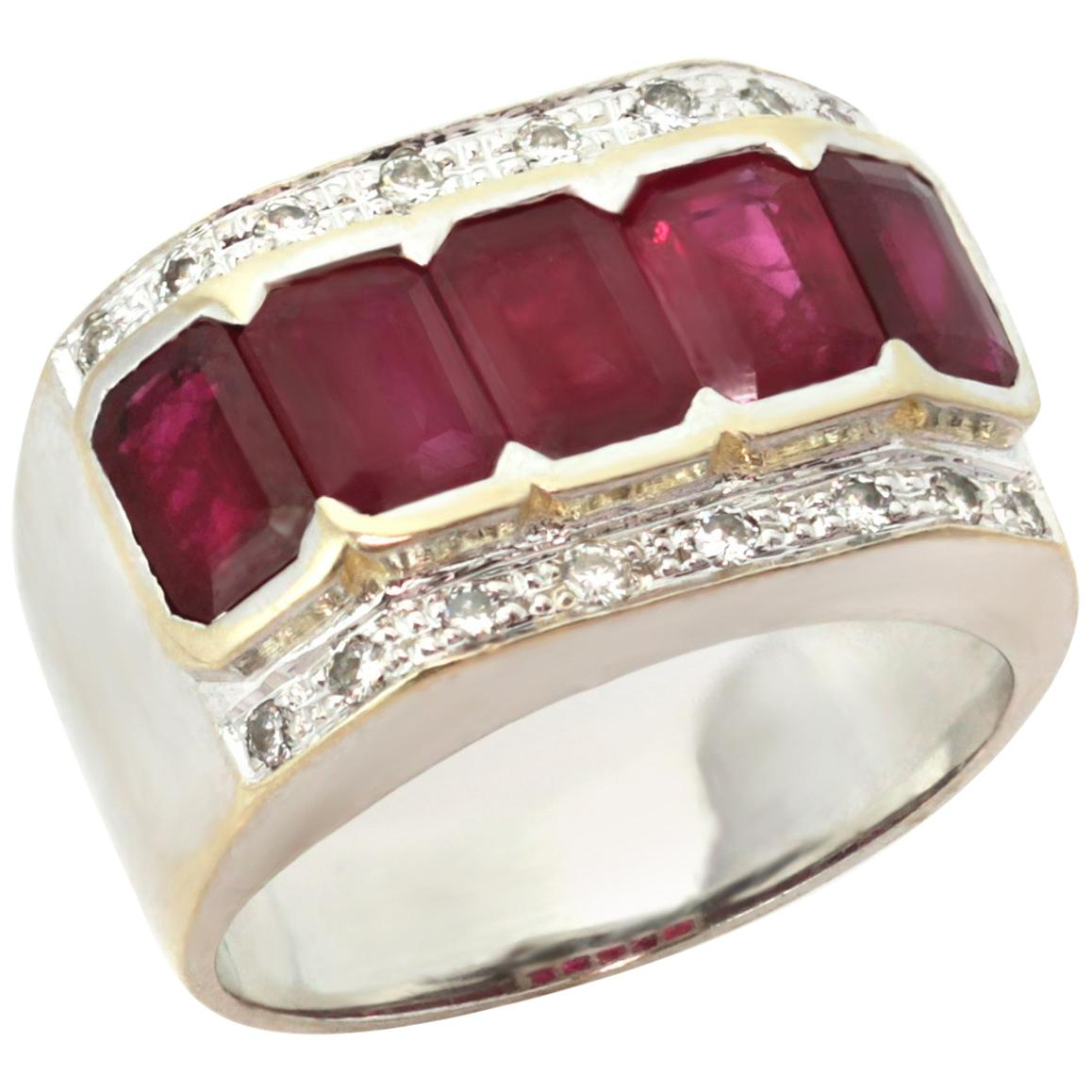 1940s Diamond Ruby White and Yellow Gold Ring