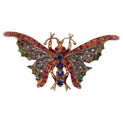 1940's Diamond Sapphire Ruby Emerald Rose Gold Vintage Butterfly Pin Brooch