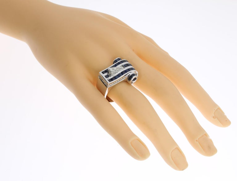 1940s Diamond Sapphire White Gold Ring For Sale 4