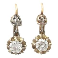 1940s Diamond Yellow Gold Drop Earrings