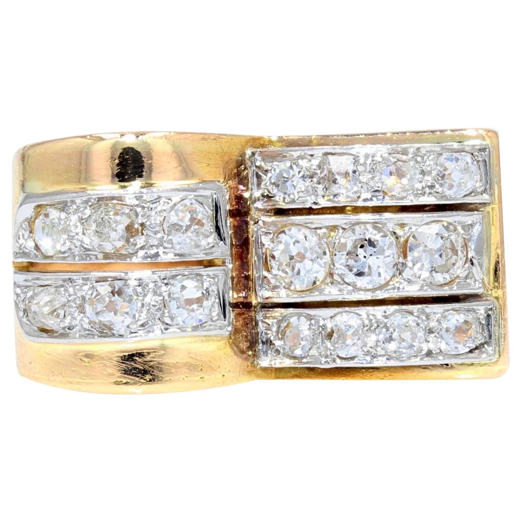 1940s Diamonds 18 Karat Yellow Gold Platinum Asymmetrical Tank Ring