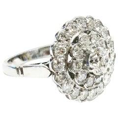 1940s Double Halo Platinum Diamond Engagement Platinum Cluster Ring