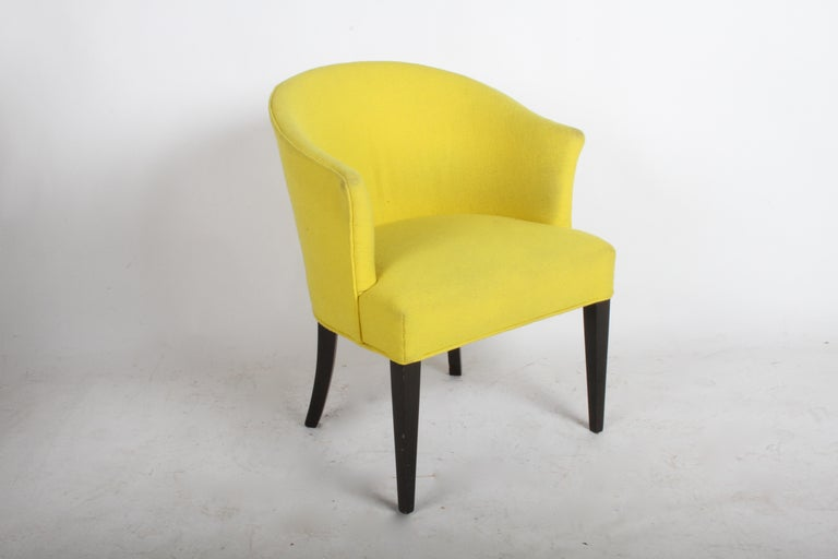 Edward Wormley for Dunbar occasional or desk chair, model # 2533. Barrel back occasional chair with dark mahogany legs and older yellow wool upholstery. In need of reupholstery, stripe chair is sold , shown for reference only. Includes refinishing