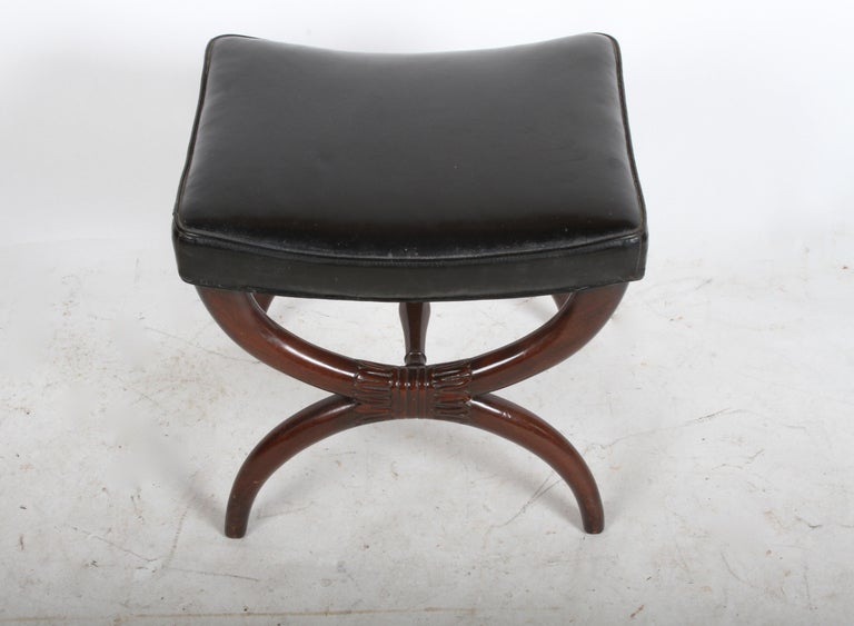 1940s Edward Wormley for Dunbar Regency X Form Bench or Stool In Good Condition For Sale In St. Louis, MO
