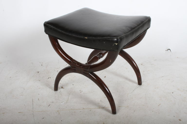 Mid-20th Century 1940s Edward Wormley for Dunbar Regency X Form Bench or Stool For Sale