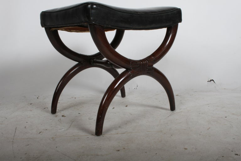 1940s Edward Wormley for Dunbar Regency X Form Bench or Stool For Sale 2