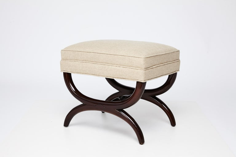 Mahogany frame stool by Edward Wormley for Dunbar, refinshed and reupholstered.