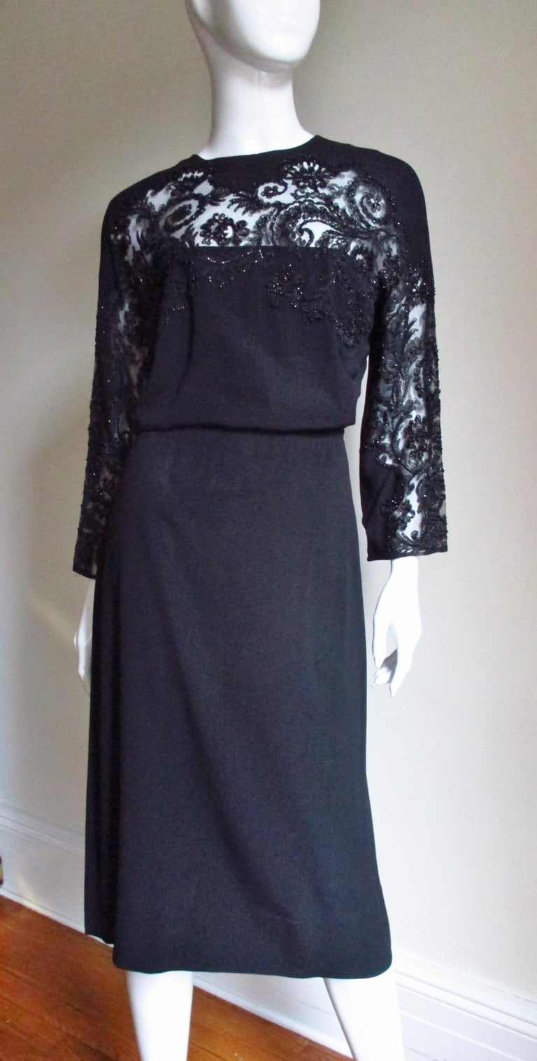Eisenberg Originals Beaded Lace Panel Dress 1940s For Sale 4