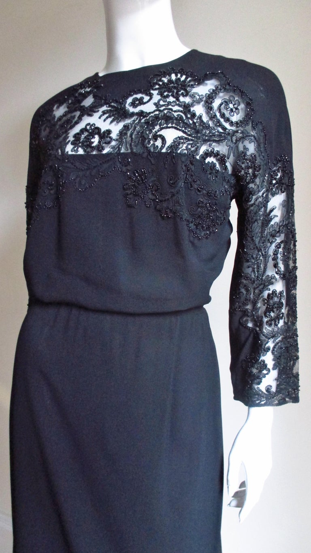 Black Eisenberg Originals Beaded Lace Panel Dress 1940s For Sale