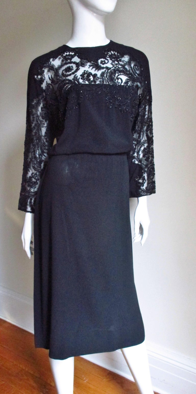 Eisenberg Originals Beaded Lace Panel Dress 1940s For Sale 3