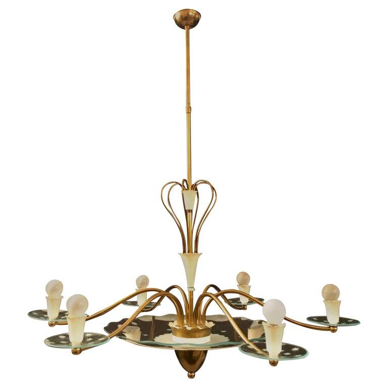 1940s Elegant Italian Chandelier, Attr. to Pietro Chiesa for Fontana Arte For Sale