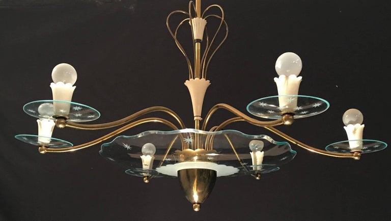 Mid-Century Modern 1940s Elegant Italian Chandelier, Attr. to Pietro Chiesa for Fontana Arte For Sale