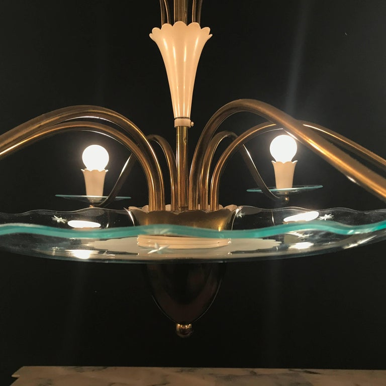1940s Elegant Italian Chandelier, Pietro Chiesa Style for Fontana Arte In Excellent Condition For Sale In Rome, IT