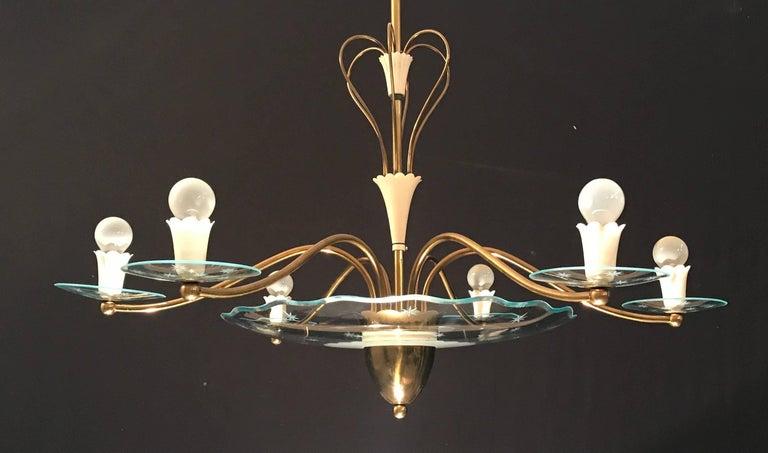Mid-20th Century 1940s Elegant Italian Chandelier, Attr. to Pietro Chiesa for Fontana Arte For Sale