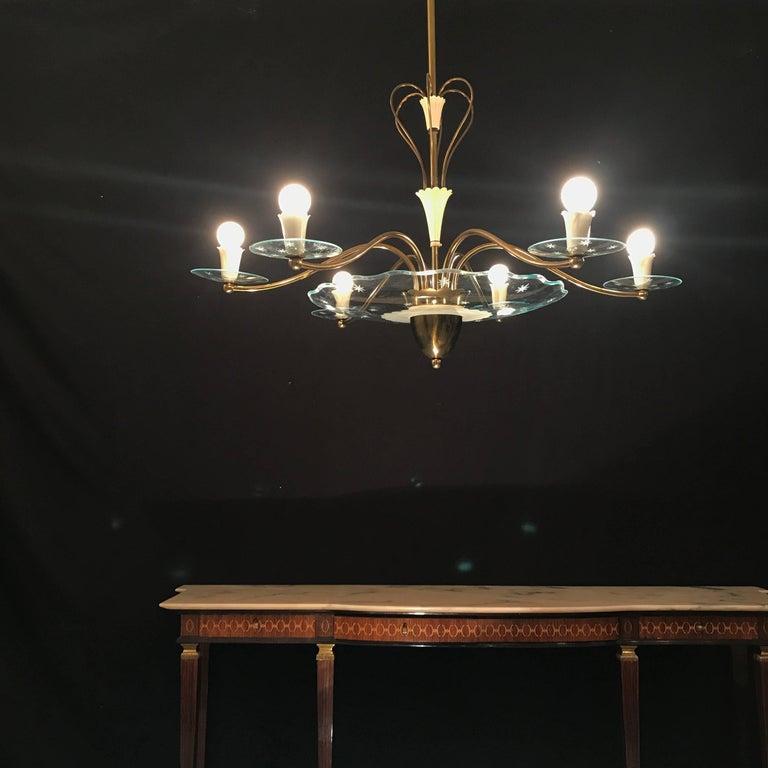 Art Glass 1940s Elegant Italian Chandelier, Pietro Chiesa Style for Fontana Arte For Sale
