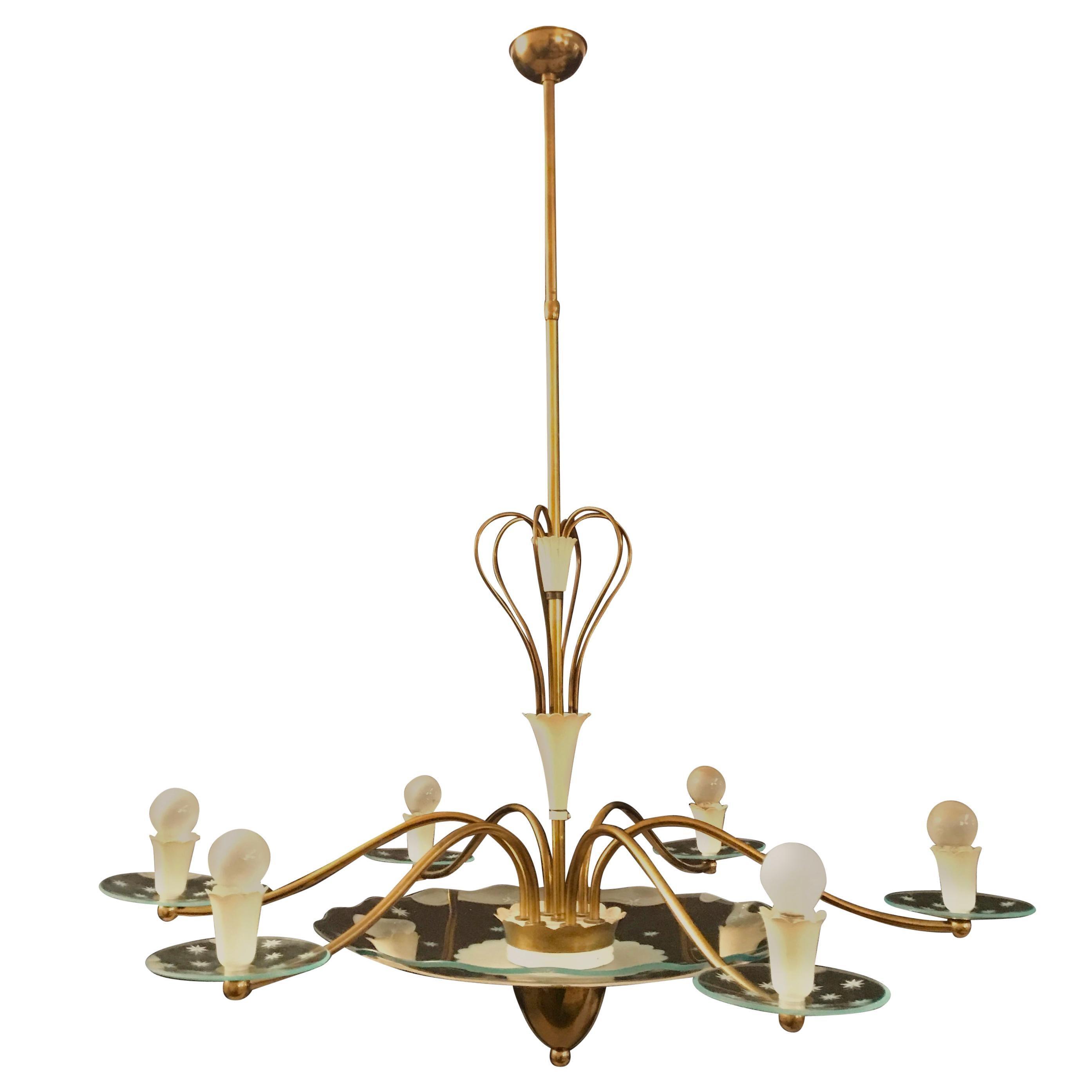 1940s Elegant Italian Chandelier, Pietro Chiesa Style for Fontana Arte