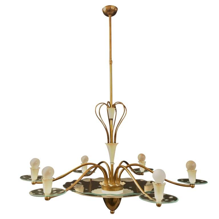 1940s Elegant Italian Chandelier, Pietro Chiesa Style for Fontana Arte For Sale