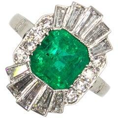 1940s Emerald Diamond Platinum Cocktail Ring