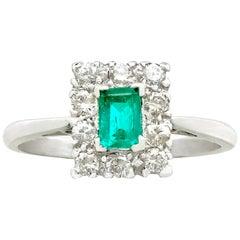 1940s Emerald Diamond White Gold Cocktail Ring