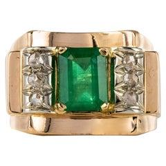 1940s Emerald Diamonds 18 Karat Yellow Gold Tank Ring