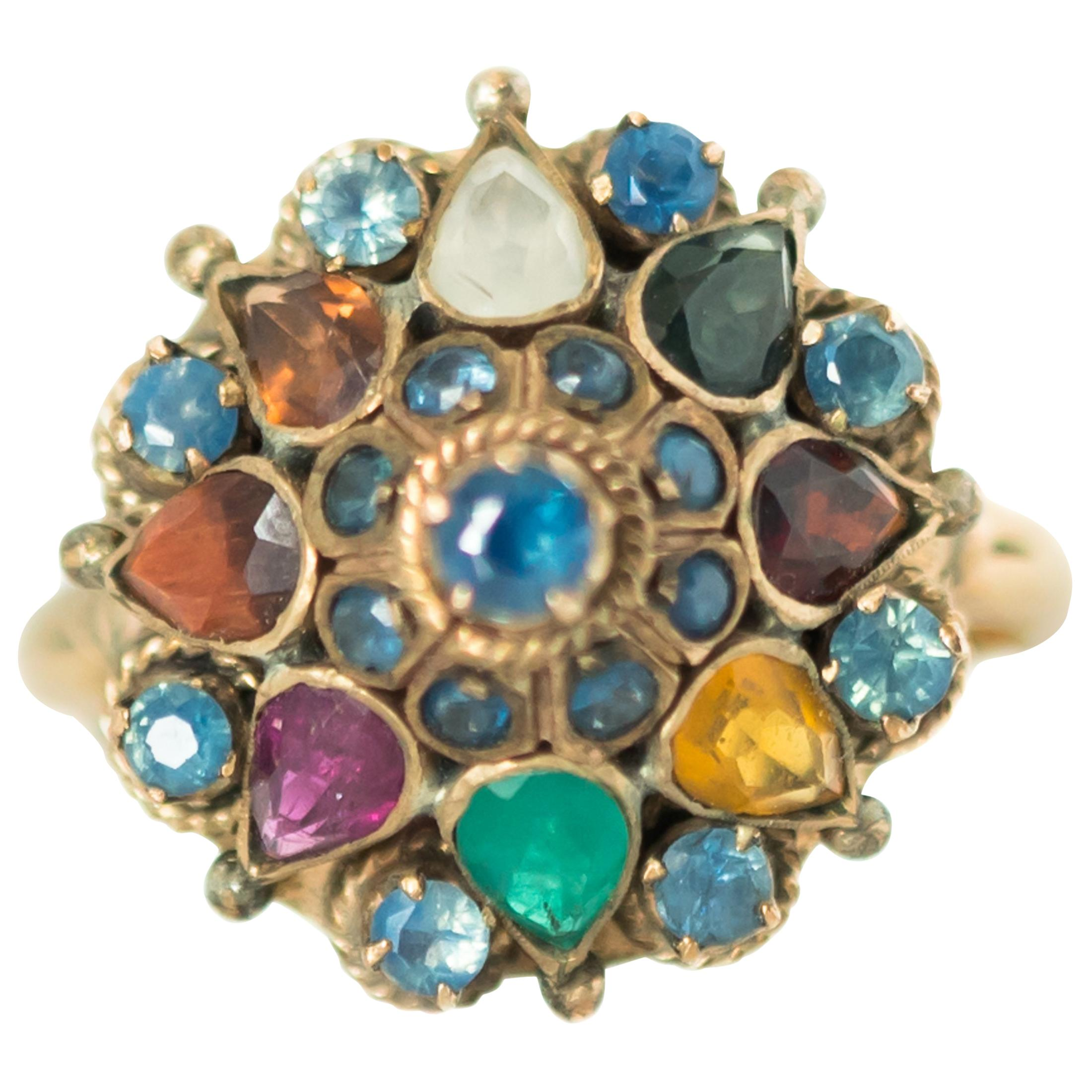 1940s Emerald, Sapphire, Citrine, 14 Karat Yellow Gold Dome Ring