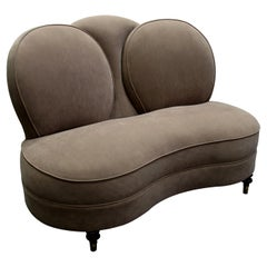 1940s English Two-Seat Loveseat with Round High Backrest, Newly Upholstered