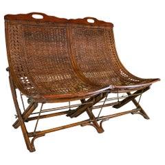 1940s English Woven Wicker & Bamboo 2-Seater Sofa