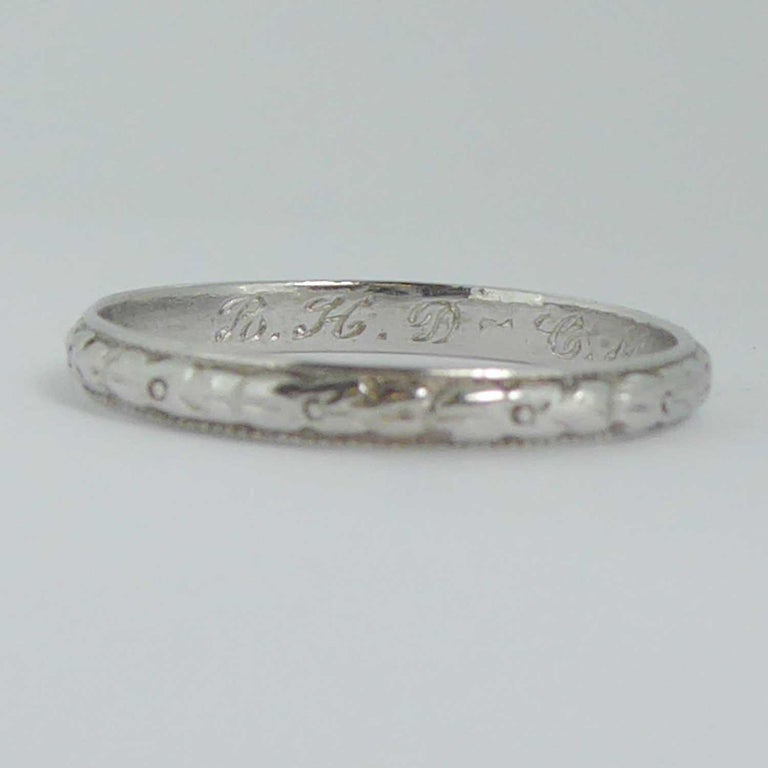 Vintage Wedding Band.1940s Engraved Platinum Wedding Band With Dedication Initials And Date