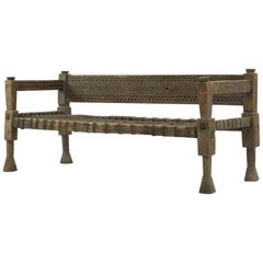 1940s Ethiopian Bench with Woven Leather Seat