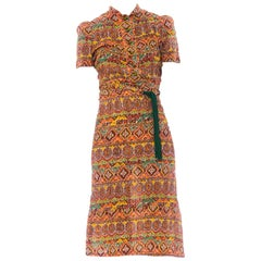 1940S Ethnic Medallion Printed Cotton Seersucker Button Front Dress With Tie Be