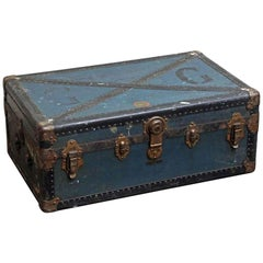 1940s European Blue Vintage Trunk