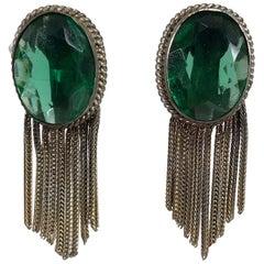 1940s Faux Emeralds with Gold Metallic Fringe Earrings