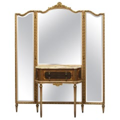 1940s Federal Style Folding Mirror Vanity Table