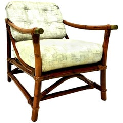 1940s Ficks Reed Campaign Style Rattan Reed, Brass Recliner Armchair & Cushion