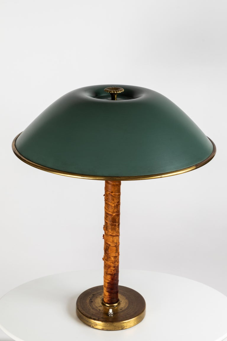 1940s Finnish Brass And Leather Table Lamp For Sale At 1stdibs