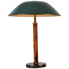 1940s Finnish Brass and Leather Table Lamp