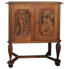 1940s Finnish E. Hallanvaara Oak Cabinet with Beautiful Carved Doors