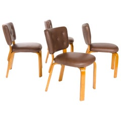 1940s Finnish Set of Four Upholstered Dining Chairs by Alvar Aalto for Artek