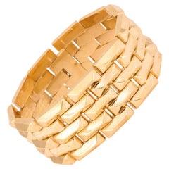 1940's Five Row Pyramid Block Design Flexible Buttery Gold Link Bracelet
