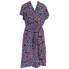 1940's Floral Printed Cold Rayon Dress Size 8