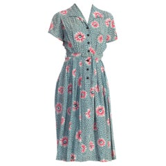 1940'S Floral Rayon Button Front Dress